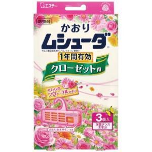 かおりムシューダ 1年間有効 クローゼット用 3個入 やわらかフローラルの香り|ayahadio