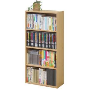 リビング収納 BOOK&DVDラック 本棚 4段 ビーチ|ayahadio|02