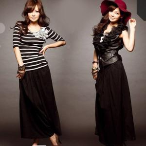 ブラック・シンプルロングスカート|ayainc