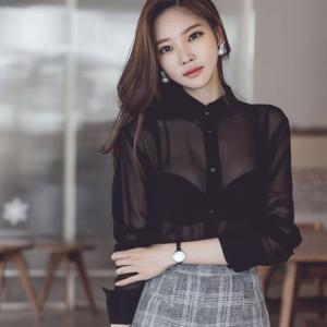 ブラック・シースルー・シャツ・ブラウス|ayainc