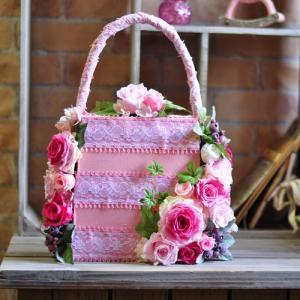 バッグブーケ バッグ型アレンジ プリザーブドフラワー「Pink sachet」|ayanasu-hanakobo