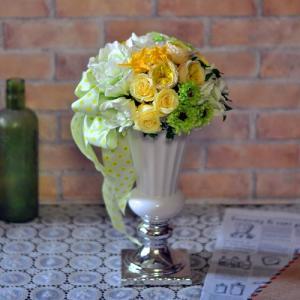 プリザーブドフラワー「Jaune vert」黄色 レモン色 大きなアレンジメント|ayanasu-hanakobo