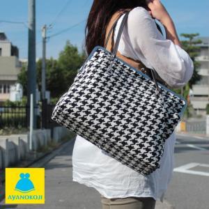 がま口 バッグ がま口キャリートートバッグ(大) 帆布・バードチェック 受注生産品|ayano-koji