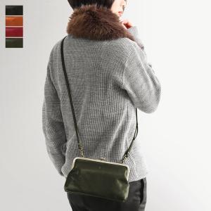 がま口 バッグ  がま口お財布ポシェット X_LEATHER BAG(BRUSH)  在庫商品|ayano-koji