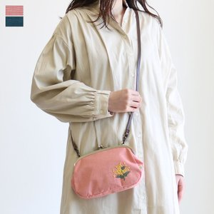 AYANOKOJI がま口スマホショルダーバッグ ミモザ刺繍 在庫商品|ayano-koji