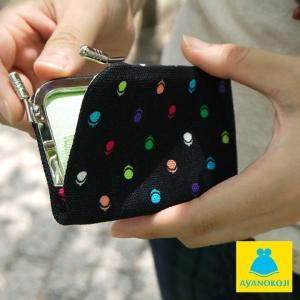 カードケース がま口  在庫商品 仕切り付きがま口カードケース 帆布・がまドット柄 がまぐち かわいい 名刺入れ カードケース ポイントカード入れ 薄型 手作|ayano-koji