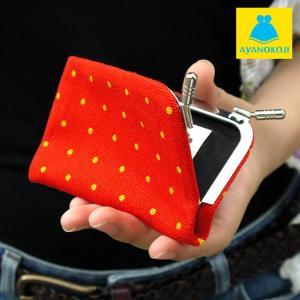 カードケース がま口  在庫商品 仕切り付きがま口カードケース 帆布・プチドット柄 がまぐち かわいい 名刺入れ カードケース ポイントカード入れ 薄型 手|ayano-koji