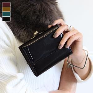 がま口 財布  折りたたみがま口財布 メタリックエナメル   在庫商品|ayano-koji
