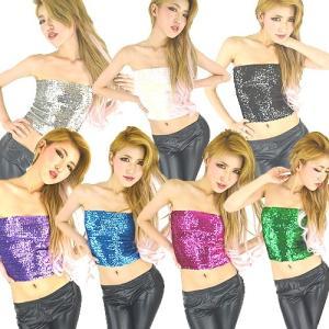 スパンコール 衣装 全17色tps-1 0030 スパンチューブトップ  (スパンコール ダンス衣装 キッズダンス kids dance ダンス 衣