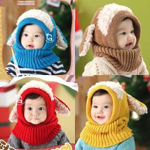 うさぎ ひつじ ニット 暖かい 可愛い 秋冬 男児 女児 赤ちゃん ニット帽子 ベビー 子供 キッズ 防寒 帽子 ネックウォーマー