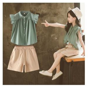 48e056ad4e524 韓国こども服 セットアップ 子供服 上下 2点セット半袖Tシャツ トップス パンツ カジュアルパンツ サルエル 女の子 可愛いスタイル シンプル  Tシャツ+パンツ