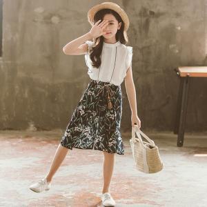 子供服 セットアップ 夏 女の子 キッズ 韓国子供服 上下セット シフォン トップス ノースリーブ ...