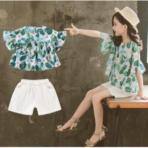 子供服 セットアップ キッズ 女の子 韓国子供服 上下セット 2点セット トップス 半袖 Tシャツ ...