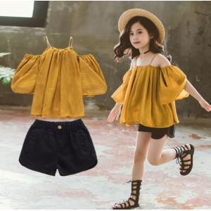 子供服 セットアップ 夏 女の子 キッズ 韓国子供服 上下セット 2点セット  トップス 半袖 肩出...