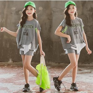 子供服 セットアップ キッズ 女の子 春夏 2点セット 上下セット Tシャツ 半袖 ロングパンツ ジ...