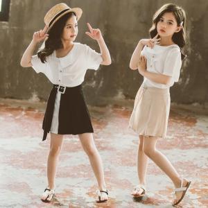 子供服 セットアップ キッズ 女の子 春夏 2点セット 上下セット Tシャツ 半袖 スカート ロング...