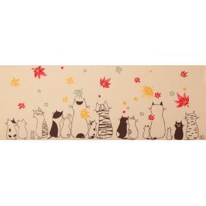 絵てぬぐい 絵画 ネコ紅葉 メール便/手ぬぐい 手拭い タオル インテリア 伝統工芸 外国人 海外 ギフト プレゼント アート 和雑貨|ayuwara