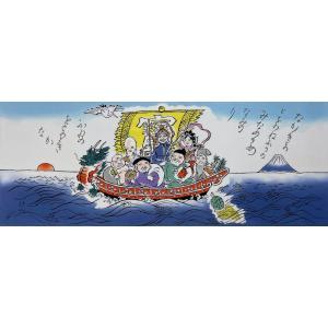 絵てぬぐい 絵画 七福神 メール便/手ぬぐい 手拭い タオル インテリア 伝統工芸 外国人 海外 ギフト プレゼント アート 和雑貨|ayuwara