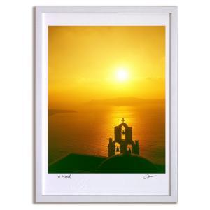 アートフォト 絵画 壁掛け ギリシャ エーゲ海 サントリーニの夕焼け インテリア 壁掛け 額入り アート アートパネル モダン アートフレーム おしゃれ