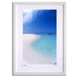 アートフォト 絵画 壁掛け 砂浜の曲線(モルディブ) 海 インテリア 壁掛け 額入り アート アートパネル モダン アートフレーム おしゃれ