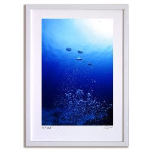 アートフォト 絵画 壁掛け パラオ ジャーマンチャネル 藍の泡 海 インテリア 壁掛け 額入り アート アートパネル モダン アートフレーム おしゃれ ayuwara