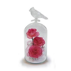ボトルフラワー/トリのモチーフ付きガラスS/ピンク/ドライフラワー 花 天然色 おしゃれ 枯れない 飾り 華やか 高級 誕生日 祝い ギフト 母 祖母|ayuwara