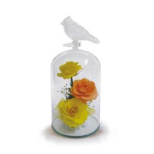ボトルフラワー/トリのモチーフ付きガラスS/イエロー/ドライフラワー 花 天然色 おしゃれ 枯れない 飾り 華やか 高級 誕生日 祝い ギフト 母 祖母|ayuwara