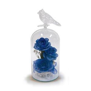 ボトルフラワー/トリのモチーフ付きガラスS/ブルー/ドライフラワー 花 天然色 おしゃれ 枯れない 飾り 華やか 高級 誕生日 祝い ギフト 母 祖母|ayuwara