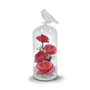 ボトルフラワー/トリのモチーフ付きガラスM/ピンク/ドライフラワー 花 天然色 おしゃれ 枯れない 飾り 華やか 高級 誕生日 祝い ギフト 母 祖母|ayuwara