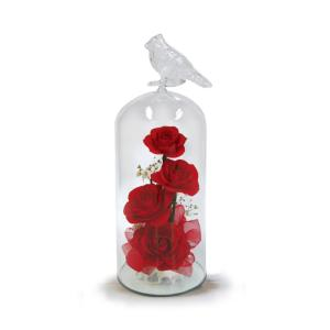 ボトルフラワー/トリのモチーフ付きガラスM/レッド/ドライフラワー 花 天然色 おしゃれ 枯れない 飾り 華やか 高級 誕生日 祝い ギフト 母 祖母|ayuwara