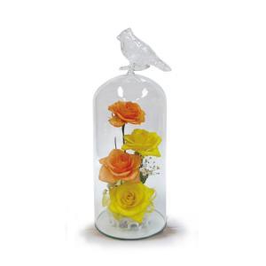 ボトルフラワー/トリのモチーフ付きガラスM/イエロー/ドライフラワー 花 天然色 おしゃれ 枯れない 飾り 華やか 高級 誕生日 祝い ギフト 母 祖母|ayuwara