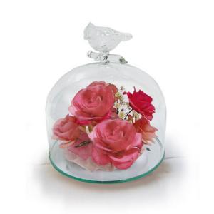 ボトルフラワー/トリのモチーフ付きガラスA/ピンク/ドライフラワー 花 天然色 おしゃれ 枯れない 飾り 華やか 高級 誕生日 祝い ギフト 母 祖母|ayuwara