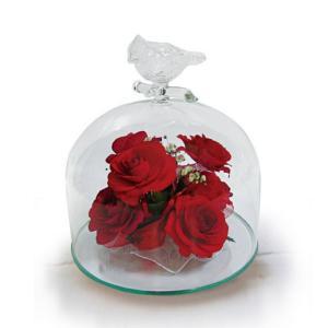 ボトルフラワー/トリのモチーフ付きガラスA/レッド/ドライフラワー 花 天然色 おしゃれ 枯れない 飾り 華やか 高級 誕生日 祝い ギフト 母 祖母|ayuwara