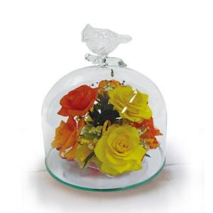 ボトルフラワー/トリのモチーフ付きガラスA/イエロー/ドライフラワー 花 天然色 おしゃれ 枯れない 飾り 華やか 高級 誕生日 祝い ギフト 母 祖母|ayuwara