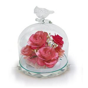 ボトルフラワー/トリのモチーフ台座付きA/ピンク/ドライフラワー 花 天然色 おしゃれ 枯れない 飾り 華やか 高級 誕生日 祝い ギフト 母 祖母|ayuwara