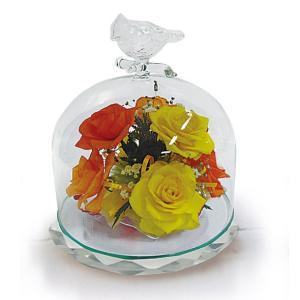 ボトルフラワー/トリのモチーフ台座付きA/イエロー/ドライフラワー 花 天然色 おしゃれ 枯れない 飾り 華やか 高級 誕生日 祝い ギフト 母 祖母|ayuwara