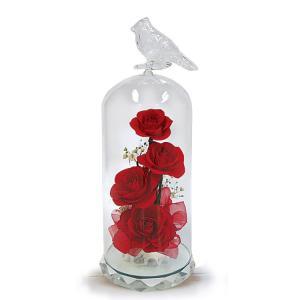 ボトルフラワー/トリのモチーフ台座付きM/レッド/ドライフラワー 花 天然色 おしゃれ 枯れない 飾り 華やか 高級 誕生日 祝い ギフト 母 祖母|ayuwara