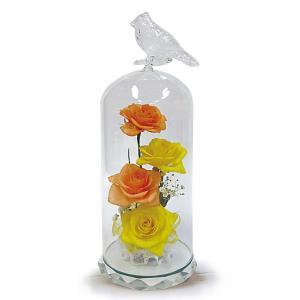 ボトルフラワー/トリのモチーフ台座付きM/イエロー/ドライフラワー 花 天然色 おしゃれ 枯れない 飾り 華やか 高級 誕生日 祝い ギフト 母 祖母|ayuwara
