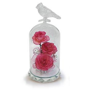 ボトルフラワー/トリのモチーフ台座付きS/ピンク/ドライフラワー 花 天然色 おしゃれ 枯れない 飾り 華やか 高級 誕生日 祝い ギフト 母 祖母|ayuwara