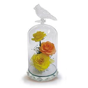 ボトルフラワー/トリのモチーフ台座付きS/イエロー/ドライフラワー 花 天然色 おしゃれ 枯れない 飾り 華やか 高級 誕生日 祝い ギフト 母 祖母|ayuwara
