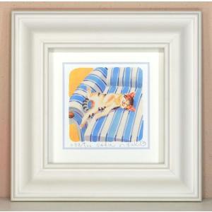 絵画 壁飾り/Sofa/猫 ネコ ねこ 栗乃木ハルミ・くりのきはるみ/絵画 壁掛け 壁飾り インテリア 油絵 花 アートパネル ポスター 絵 額入り リビング 玄関|ayuwara