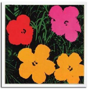 ポップアート 名画 アンディ ウォーホル 花 赤・ピンク・黄色2輪(1967)/絵画 壁掛け 壁飾り インテリア 油絵 花 アートパネル ポスター 絵 額入り リビング 玄関 ayuwara