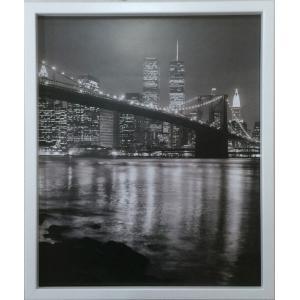 アートフレーム Chris Bliss Brooklyn Bridge with World Trade Center/絵画 壁掛け 壁飾り インテリア 油絵 花 アートパネル ポスター 絵 額入り リビング 玄関|ayuwara