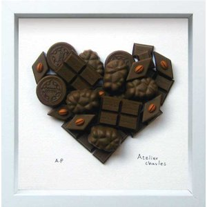 アートフレーム/ハートシリーズ チョコレート ハート/絵画 壁掛け 壁飾り インテリア 油絵 花 アートパネル ポスター 絵 額入り リビング 玄関|ayuwara