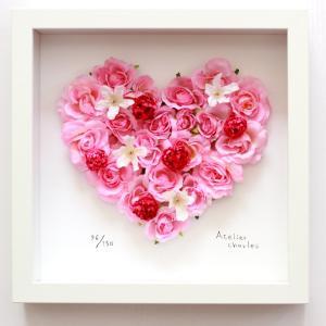 フラワーフレーム ハートシリーズ Pink Heart 3 ピンク ハート3/絵画 壁掛け 壁飾り インテリア|ayuwara