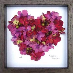 フラワーフレーム Heart Series Pink Heart 3(ハート シリーズ ピンク ハート)/絵画 壁掛け 壁飾り インテリア|ayuwara