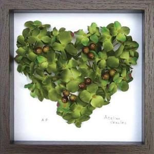 フラワーフレーム Heart Series Green Heart(ハート シリーズ グリーン ハート)/絵画 壁掛け 壁飾り インテリア|ayuwara