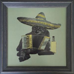 アートフレーム Jason Laurits Drunk Cat/絵画 壁掛け 壁飾り インテリア 油絵 花 アートパネル ポスター 絵 額入り リビング 玄関|ayuwara