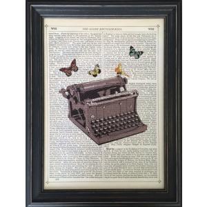 アートフレーム Marion McConaghie Typewriter/絵画 壁掛け 壁飾り インテリア 油絵 花 アートパネル ポスター 絵 額入り リビング 玄関|ayuwara