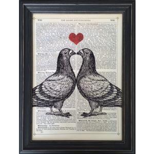 アートフレーム Marion McConaghie Pigeons in Love/絵画 壁掛け 壁飾り インテリア 油絵 花 アートパネル ポスター 絵 額入り リビング 玄関|ayuwara
